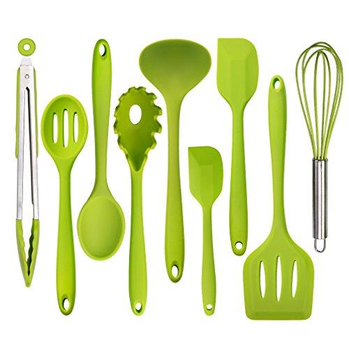 Silicone Kitchen Utensil Set - 9 Piece Flexible Silicon Spatulas Set, Heat Resistant Non Stick Cooking Tools, BPA Free&FDA(Professional, Cookware Kitchen Gadgets, Green)