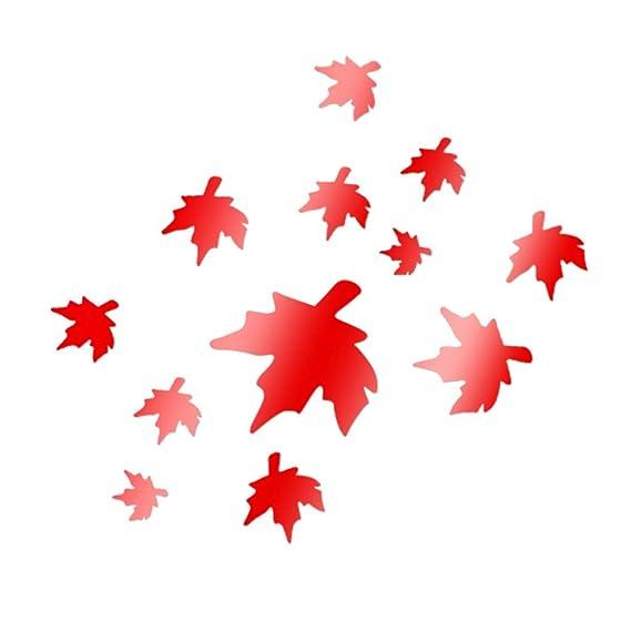YWLINK AcríLico 3D Maple Leaf Efecto Espejo Combinado Etiqueta De ...