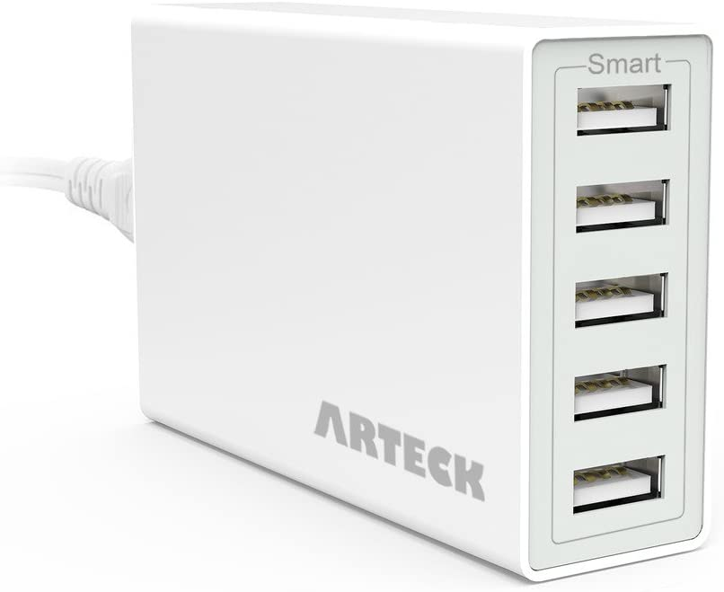 Arteck 40W 5-Port 8A High Speed Multiple USB Charger with Smart Technology for iPhone 11, 11 Pro, 11 Pro Max, SE, Xs Max, Xs, Xr, X, 8, 8 Plus, 7s, 7, 6, iPad, Samsung and Other Smartphone, Tablet