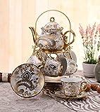 ufengke 13 Pieces White And Gold Flower European Retro Titanium Ceramic Tea Set Tea Service For Wedding