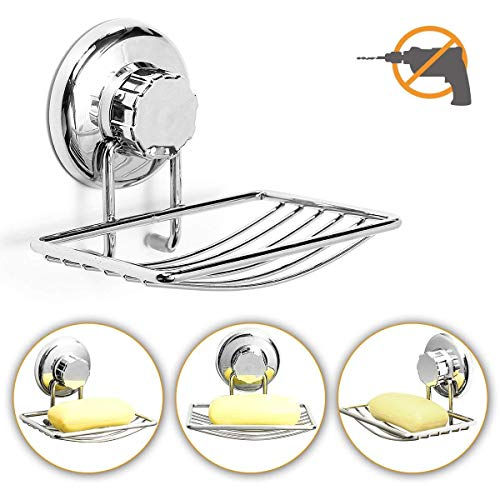 TAPCET Vacuum Suction Cup Soap Dish Holder Stainless Steel Soap Sponge...