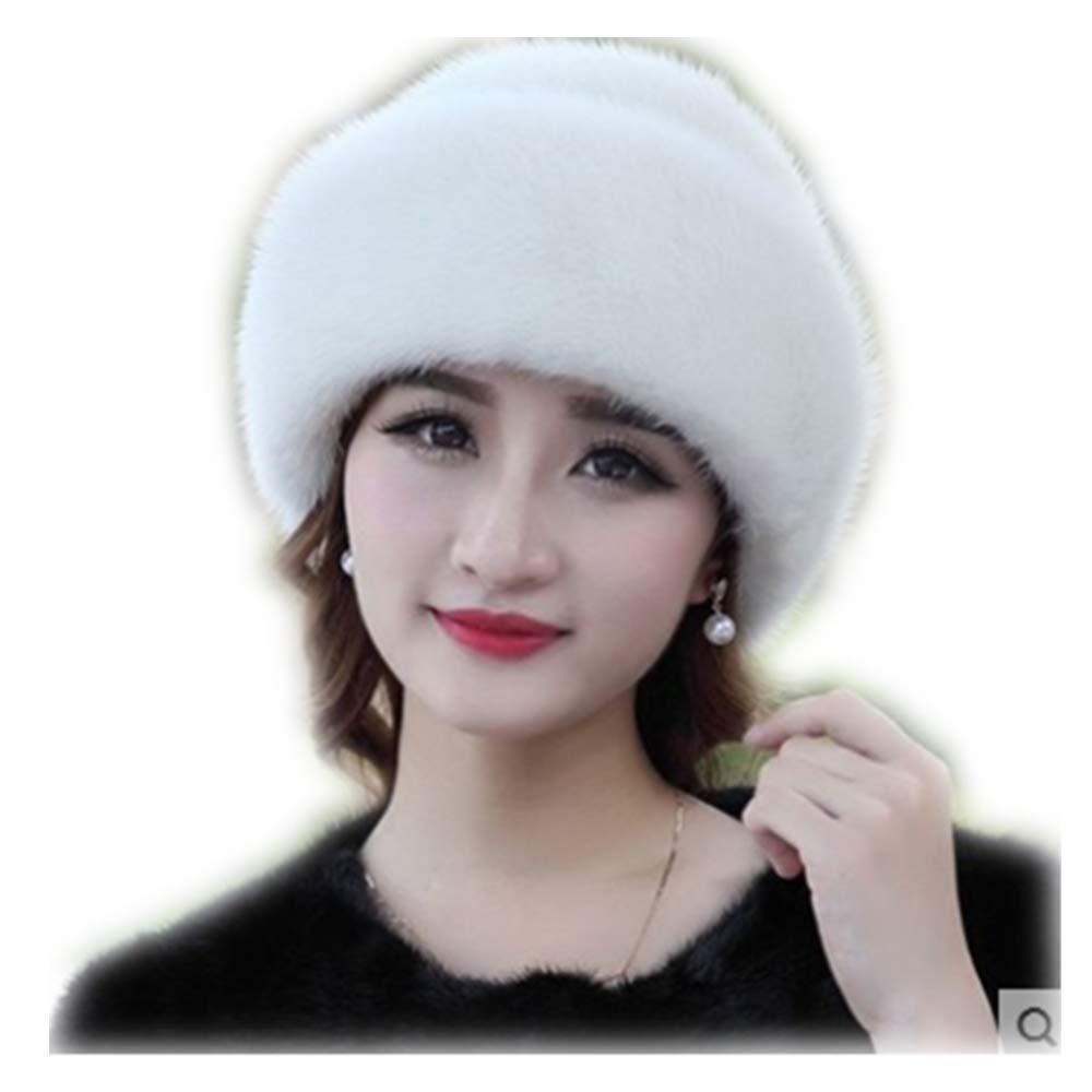MH Bailment Women's Winter Warm Real Mink Fur hat (XL(60cm), White