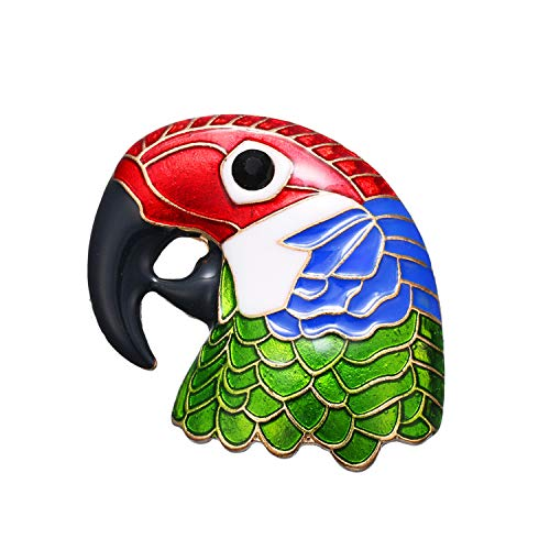 (Cartoon Parrot Head Brooch Enamel Animal Colorful Bird Pin for Women Men Kid Corsage Badge Broaches Fashion Jewelry Gift )