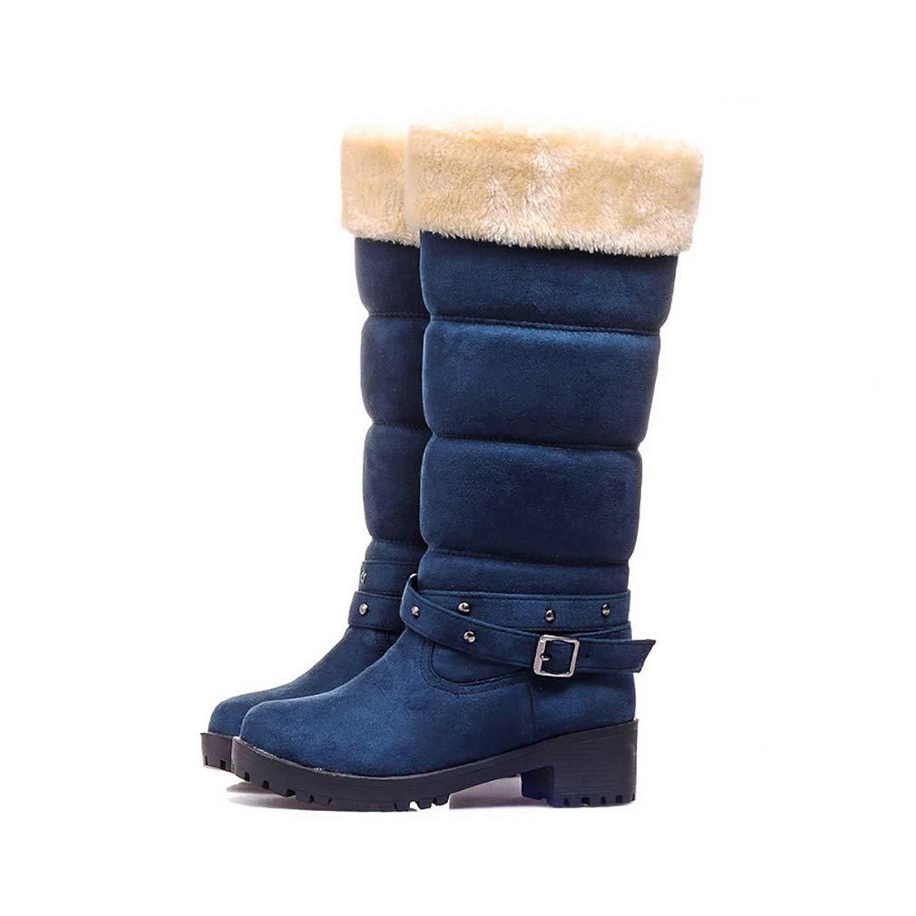 Hy Damenschuhe Suede Herbst/Winter Comfort Cotton Stiefel Schneestiefel Stiefel/Damen Winter New Square Heel Mittelrohr Stiefelies/Stiefeletten Student Warm Skiing Schuhe (Farbe : C, Größe : 42)