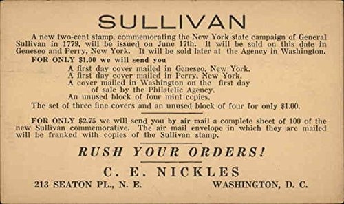 Vintage Advertising Postcard: General Sullivan Commemorative Stamps Advertising ()