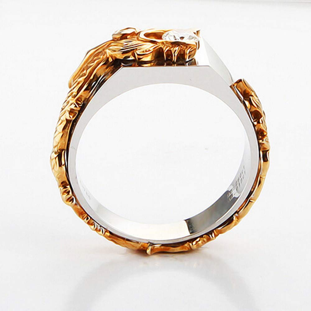 Novelty Rings Chinese Dragon Biting A Rhinestone Ring Personality Domineering Creative Jewelry Gift By Balakie