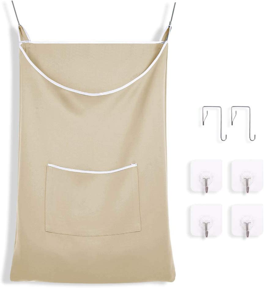PONY DANCE Door-Hanging Laundry Bag - Space Saving for Tiny Room, Bathroom Hampers for Small Spaces Large Storage for Dirty Clothes Kids Travel Laundry Basket, 20x30 in, Biscotti Beige