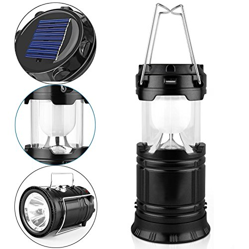 GAXmi Camping Lantern Solar Rechargeable Emergency Light Portable Collapsible LED Flashlight Black