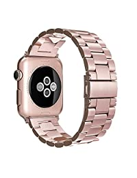 [New Release]Apple Watch Band 38mm,Simpeak Stainless Steel Band Strap for Apple Watch 38mm Series 1 Series 2 - Rose Gold
