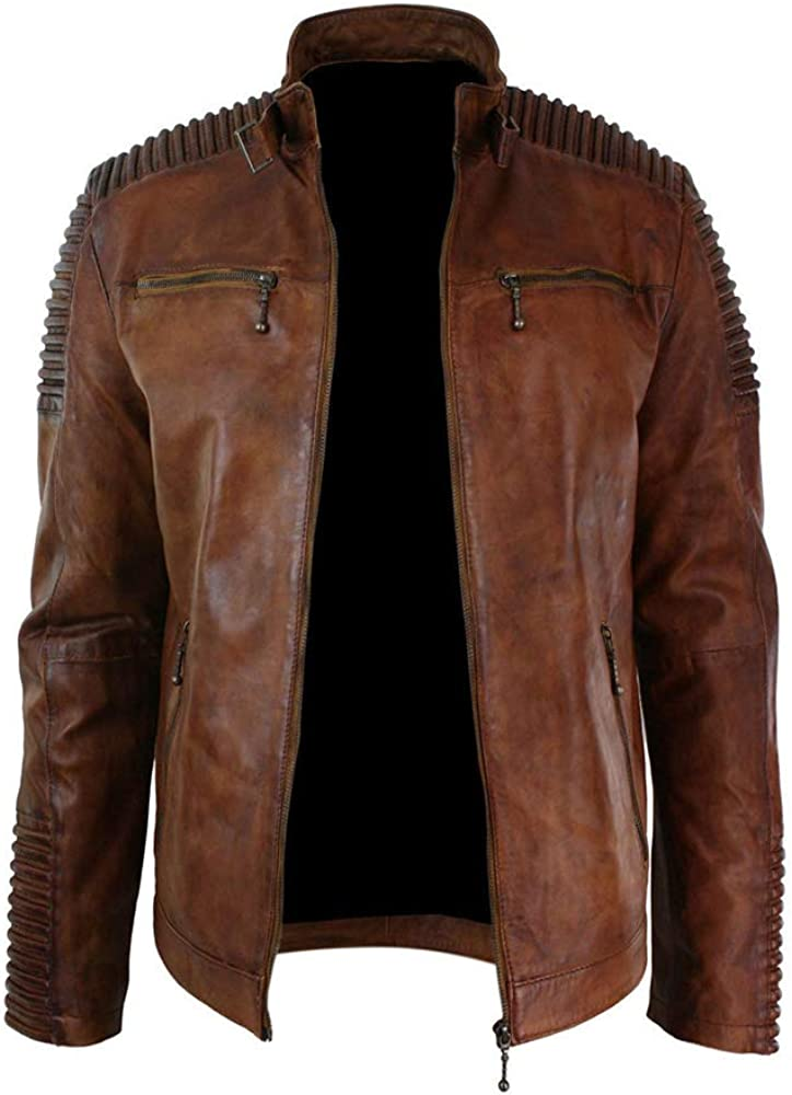 Mens Biker Vintage Motorcycle Brown Cafe Racer with Skull Leather Jacket