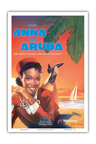 with Anna to Aruba - Martinair Airline - One Happy Island, One Happy Holiday! - Vintage Airline Travel Poster c.1990 - Master Art Print - 12in x 18in ()