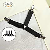 xhlife Bed Sheet Fasteners, Adjustable Triangle Mode Elastic Suspenders Gripper Holder Straps Clip for Bed Sheets,Mattress Covers, Sofa Cushion(4Pack)