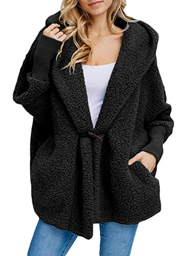Happy Sailed Women Lapel Hooded Fuzzy Faux Shearling Button Fleece Open Front Oversized Outwear Jackets Pockets Coat Medium Black (Button Jacket Front Fur)