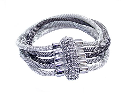 - Mixed Color 5-Strand Mesh Bracelet with Beaded Magnetic Clasp (rhodium, silver, black nickel mix)