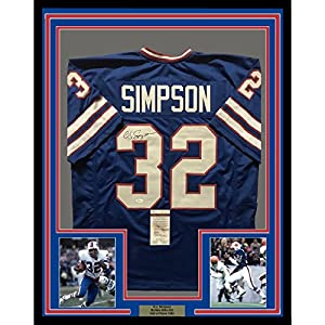 Framed Autographed/Signed OJ O.J. Simpson 33x42 Buffalo Bills Blue Football Jersey JSA COA
