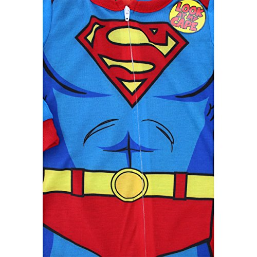 Superman Toddler Blue Sleeper Pajamas with Cape (2T)