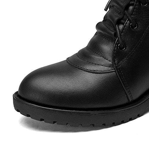 Amoonyfashion Kvinners Rund Tå Lukket Tå Lave Hæler Støvler Med Plattformen Svart