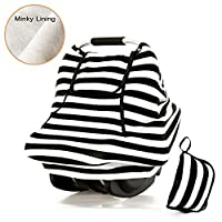 Stretchy Baby Car Seat Covers For Boys Girls,Spring Autumn Winter Infant Car Canopy,Snug Warm Breathable Windproof, Adjustable Peep Window,Insect free,Universal Fit,Black White Stripe-Patented Design