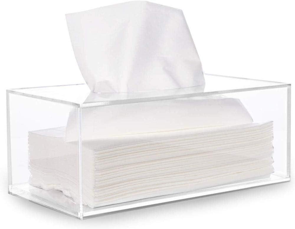 Facial Tissue Dispenser Box Abdeckungshalter Klar Acryl Rechteck Serviette Organizer f/ür Badezimmer K/üche und B/üro