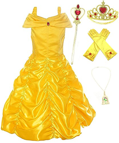 Yellow Dress Up Costumes (Romy's Collection Princess Belle Yellow Party Costume Dress-Up Set (6-7, Yellow))