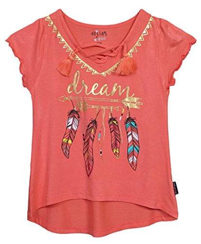 'dELiAs Girls Lace-Up Fashion V-Neck Graphic Tassel Top, Size 10/12, (Girls Pretty Tops)