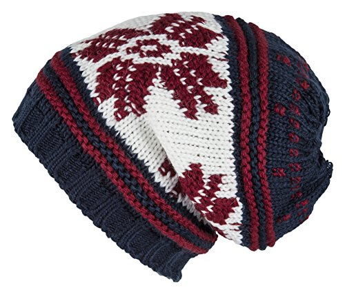 Lilax Knit Slouchy Oversized Soft Warm Winter Beanie Hat Navy-White Snowflake -