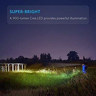 Anker LC90 LED Flashlight, IP65 Water-Resistant, Zoomable, Rechargeable, Pocket-Sized Torch (for Camping, Hiking and Emergency Use) with 900 Lumens CREE LED, 5 Light Modes, and 18650 Battery