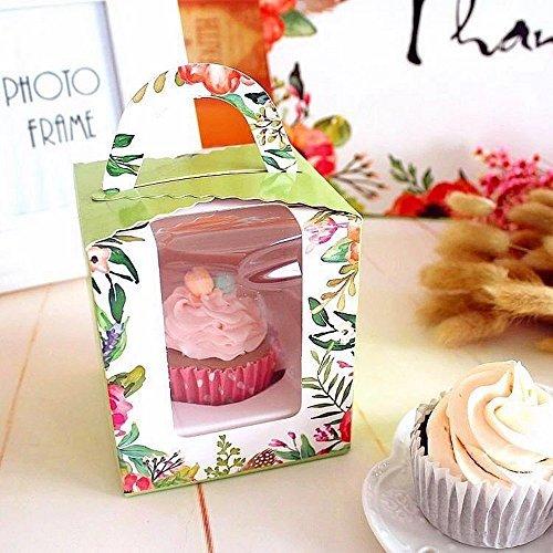 Transparente panadería pastelería grado alimenticio flor diseño de jardín cartón individual cajas para cupcakes con...