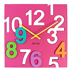 JustNile Modern Creative Square 12-inch Wall Clock - 3D Pink Number Cut-Out