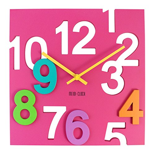 JustNile Modern Creative Square 12-inch Wall Clock - 3D Pink Number - Square Inch Wall Clock 12