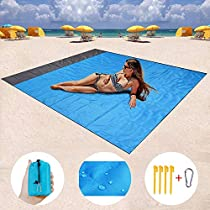 Outdoor Picnic Blanket Sand Free Beach Mat 55 X 79 Waterproof for Hiking, Travel, Camping, Festival and Backpacking (Blue)