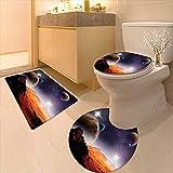 3 Piece Toilet mat Set Cosmos Fantasy Decor Solar Sky Nebula Orbit Comet Horizon System 3 Piece Shower Mat Set