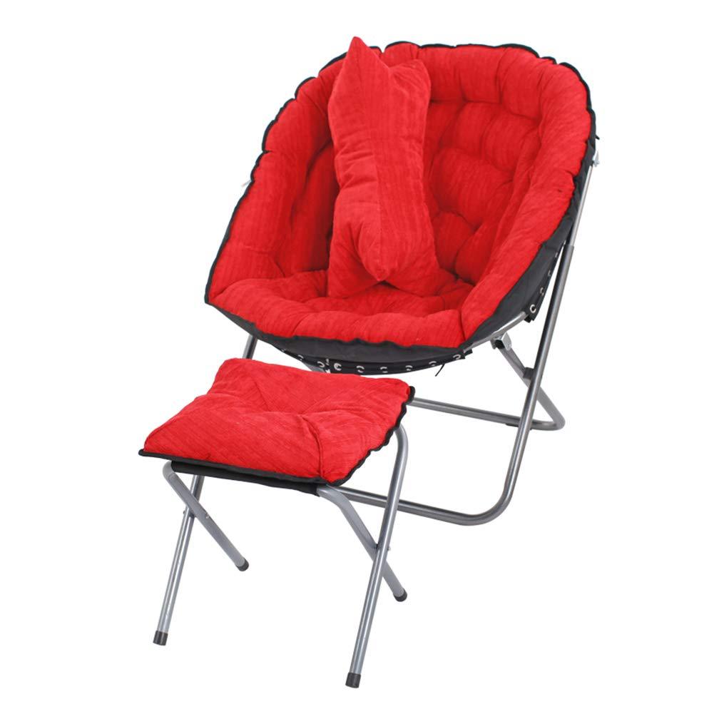 Bodenstuhl, Faltbarer faul gepolsterter Stuhl mit Fußstütze und Kopfkissen, Schlafsofas für Wohnzimmer/Home Office/Schlafsaal (Farbe : ROT)