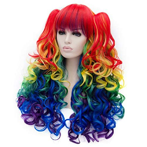 Double Clip Ponytail+Hair Cap+Long Body Wave My Little Pony Rainbow D Synthetic Cosplay Wig For Party Halloween Muli Color 24inches]()