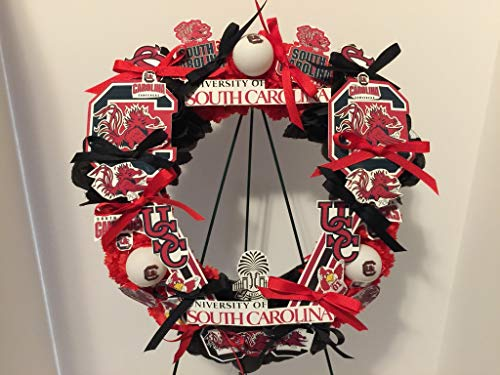 COLLEGE PRIDE - SPIRIT - USC - UNIVERSITY OF SOUTH CAROLINA - GAMECOCKS - COCKY - DORM DECOR - DORM ROOM - COLLECTOR WREATH - RED CARNATIONS AND BLACK ROSES by Peters Partners Design (Image #1)