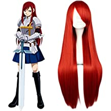 """Mcoser 31.5"""" 80cm Red Long Straight Synthetic Hair- Fairy Tail Elza·scarlet Cosplay Wigs"""