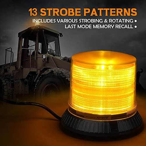 Emergency Caution Warning revolving light,13 Modes 18W 12 LEDs for Trucks Snow Plow construction vehicle car SL-L18-Y Xprite Amber//Yellow Rotating LED strobe beacon light with Magnetic Mount