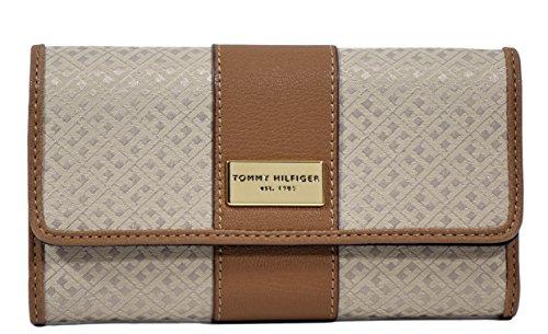 Tommy Hilfiger Women's Clutch Checkbook Wallet (Brown/Tan Big H Logo/Center Leather Stripe)