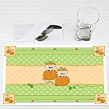 Twin Little Pumpkins - Party Table Decorations - Fall Baby Shower or Birthday Party Placemats - Set of 12