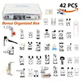SIMPZIA 42 pcs Domestic Sewing Machine Walking Presser Feet Kit for Most of Low Shank Sewing Machines Brother, Babylock, Janome, Singer, Elna, Toyota, New Home, Simplicity, Necchi, Kenmore, White