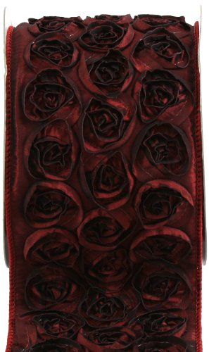 Kel-Toy Dimensional Rose Ribbon, 4-Inch by 10-Yard, Deep Red/Wine (Rosette Wine)