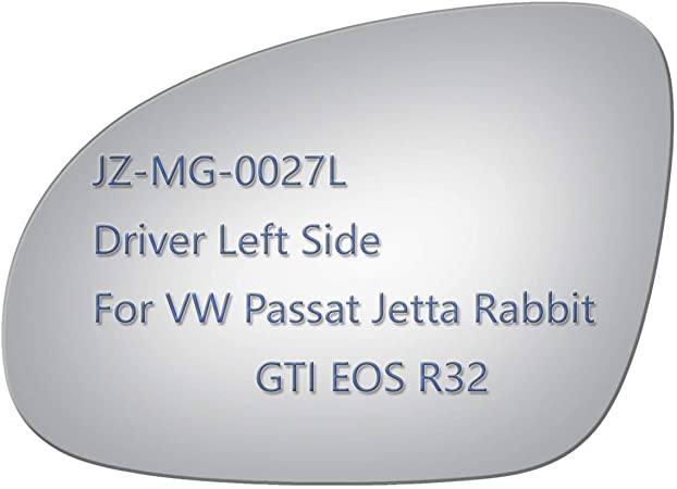 JZPOWER Side Mirror Glass for Volkswagen VW Passat Jetta Rabbit GTI Eos R32 Non Heated Including Adhesive Passenger Right Side RH Replacement Rearview Convex Glass