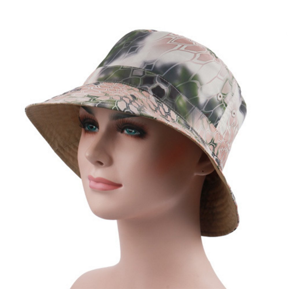 290075f6fa3 Amazon.com   Ezyoutdoor Women s Summer UPF 50+ Quick-dry Reversible Double  Side Colorful Pattern Sun Hat Reversible Bucket Hat for Hiking Camping  Running ...