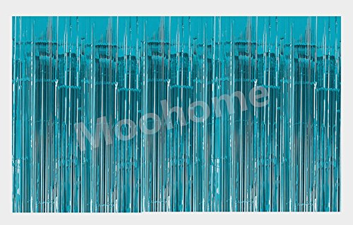 Aqua Foil - Moohome Big 12ft x 8ft Tinsel Aquamarine Foil Fringe Curtains Backdrop Door Window Curtain Party Photography Decoration (12' x 8', Aquamarine)