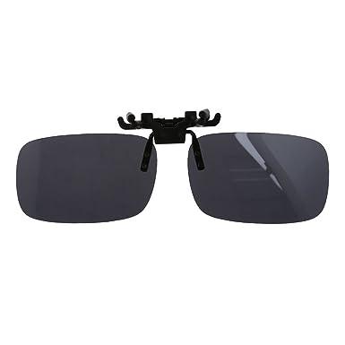 44716f208b0 SODIAL(R) Unisex Gray Lens Rectangle Flip Up Driving Sunglasses Clip On  Polarized Glasses  Amazon.co.uk  Clothing