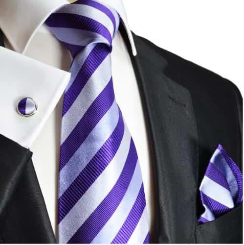 Paul Malone Necktie, Pocket Square and Cufflinks 100% Silk Silver Purple