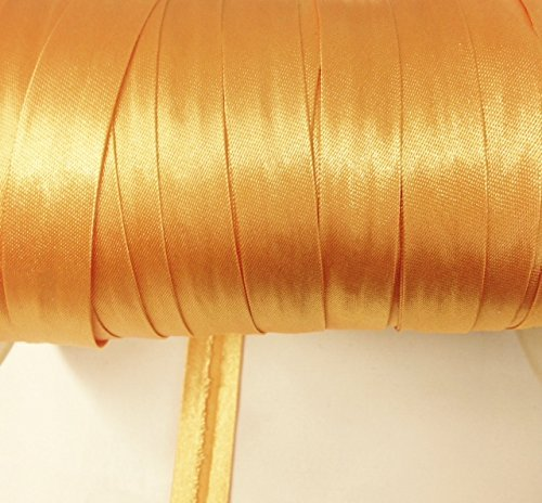 12 yards 5//8 inch Single Fold Satin Bias Tape 20 different colors In Golden Yellow