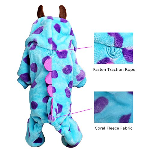 LUCKSTAR Blue Fashionable Pet Supplies Puzzle Bobble Style Pet Flannelette Winter Clothes with Hat Dog Costume Warm Casual Coat Hoodie for Dog (XS) by LUCKSTAR (Image #3)