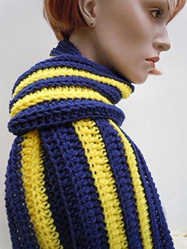 Sports Team Colors Scarf, Blue and Gold Scarf, Football team colored scarf, School Colored Scarf, College Team Scarf, Crocheted (Team Colours)