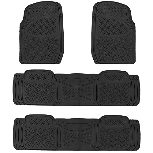 U.A.A. INC. Heavy Duty MT-9024 Rubber Floor Mats Universal Car Truck SUV (Black)]()
